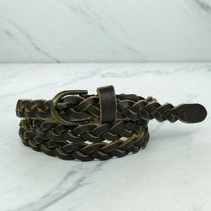 Hollister Brown Skinny Braided Woven Leather Belt